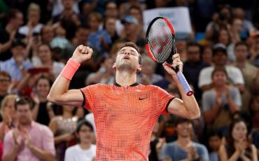 epa05704647 Grigor Dimitrov of Bulgaria reacts after defeating Kei Nishikori of Japan in the Men's singles final at the Brisbane International Tennis Tournament in Brisbane, Australia, 08 January 2017.  EPA/DAVE HUNT  AUSTRALIA AND NEW ZEALAND OUT