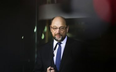 Martin Schulz announces his resignation as Social Democratic Party, SPD, chairman at the party's headquarters in Berlin, Tuesday, Feb. 13, 2018. (AP Photo/Markus Schreiber)