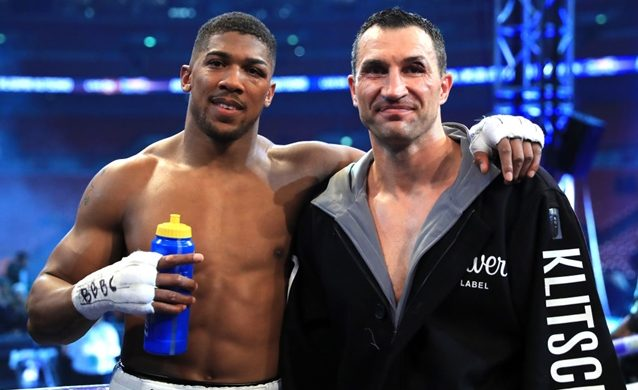 LONDON, ENGLAND - APRIL 29:  Winner, Anthony Joshua (L) stands with Wladimir Klitschko following the IBF, WBA and IBO Heavyweight World Title bout at Wembley Stadium on April 29, 2017 in London, England.  (Photo by Richard Heathcote/Getty Images)