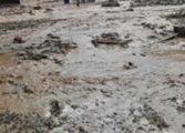 Наноси от кал по част от пътното платно след паднали интензивни валежи затрудняват движението в района на село Партизани