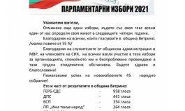 Коалиция ГЕРБ – СДС печели изборите в община Ветрино