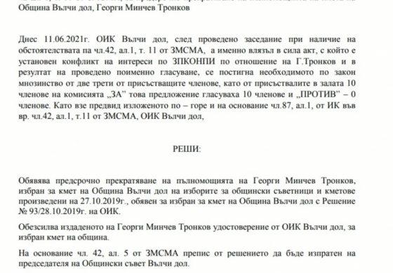 Георги Тронков вече не е кмет на Вълчи дол (документ)